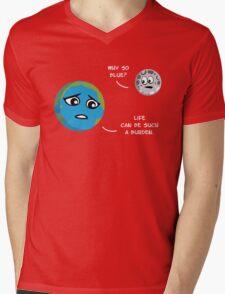 Earth & Moon Mens V-Neck T-Shirt