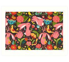 Flowers and bunnies seamless pattern Art Print