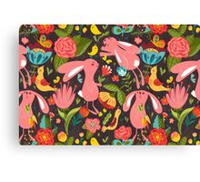 Flowers and bunnies seamless pattern Canvas Print