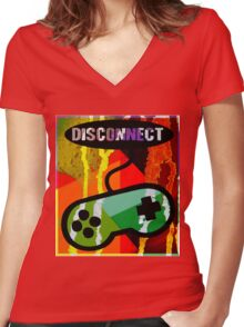 DISCONNECT Women's Fitted V-Neck T-Shirt
