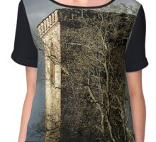 Old medieval church tower on dark stormy sky background, Teruttenhousen abbey Chiffon Top