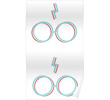 3D Lightning Bolts and Glasses Poster