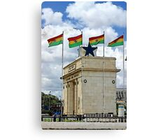 Ghana Flag and Black Star Gate of Independence Canvas Print