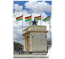 Ghana Flag and Black Star Gate of Independence Poster