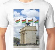 Ghana Flag and Black Star Gate of Independence Unisex T-Shirt