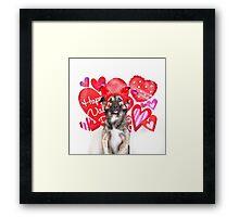 Valentines Day Puppy Framed Print
