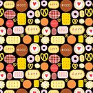 Seamless graphic pattern with delicious cookies by Tanor