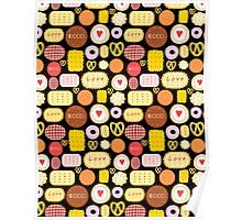 Seamless graphic pattern with delicious cookies Poster
