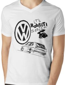 Rabbit Graphic Mens V-Neck T-Shirt