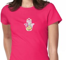 Artistic Hand Drawn Hamsa Hand an Floral Drawings Womens Fitted T-Shirt