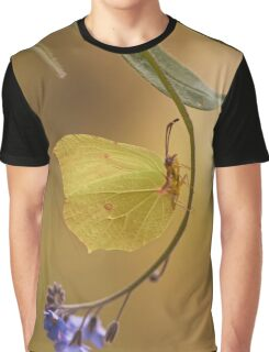 Yellow butterfly on blue forget-me-not flowers Graphic T-Shirt