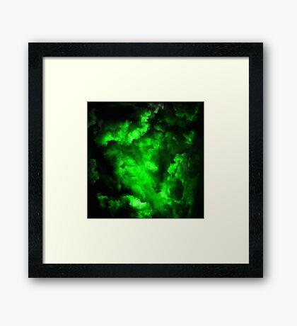 Envy - Abstract In Neon Green And Black Framed Print