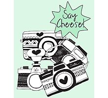 Vintage Rustic Cameras Say Cheese Photographic Print