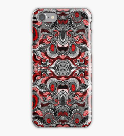 Black , Red and white pattern iPhone Case/Skin