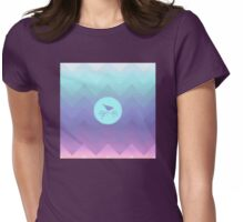 Bird and Berries, cute birdie, pastel ombre chevron pattern Womens Fitted T-Shirt