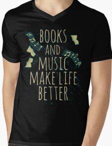 books and music make life better #1 Mens V-Neck T-Shirt