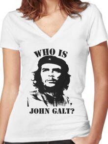 """""""Who is John Galt?"""" - Che Women's Fitted V-Neck T-Shirt"""