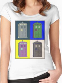 TIMEY WIMEY WARHOL TARDIS 2 Women's Fitted Scoop T-Shirt