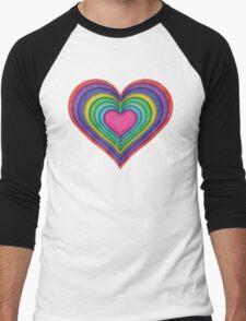 Color Heart Cut Outs Men's Baseball ¾ T-Shirt