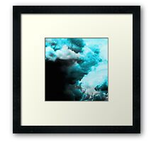 Relaxed - Cloudy Abstract In Blue And Black Framed Print