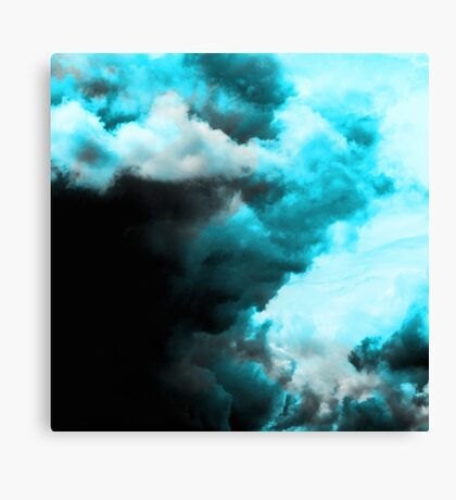 Relaxed - Cloudy Abstract In Blue And Black Canvas Print