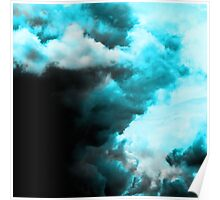 Relaxed - Cloudy Abstract In Blue And Black Poster