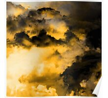 Vitality - Cloudy Abstract In Orange And Black Poster