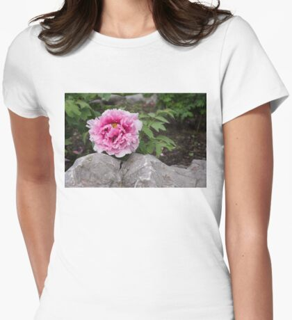Peony on the Rocks - the Marvels of Spring Womens Fitted T-Shirt