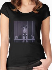 Buster Keaton Painting Women's Fitted Scoop T-Shirt