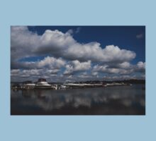 Reflecting on Boats and Clouds - Port Perry Marina Kids Tee