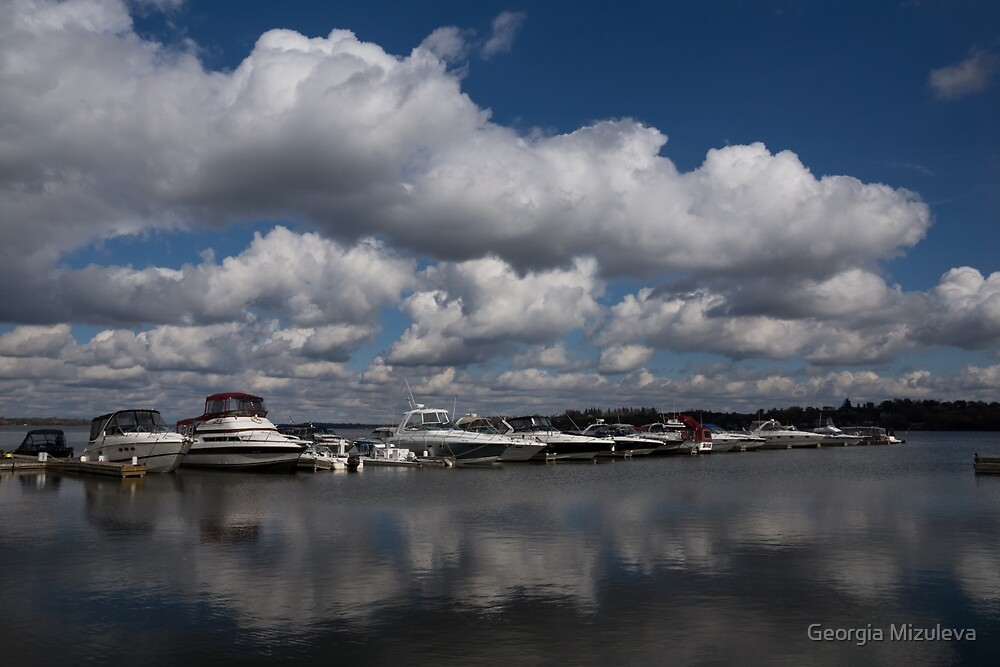 Reflecting on Boats and Clouds - Port Perry Marina by Georgia Mizuleva