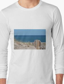Sandy beach and deep blue sea Long Sleeve T-Shirt