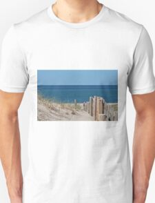 Sandy beach and deep blue sea Unisex T-Shirt
