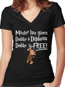 Dobby Graduate- No year Women's Fitted V-Neck T-Shirt