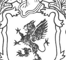 black and white morgan family crest Sticker