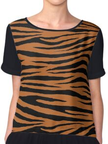 0599 Ruddy Brown Tiger Chiffon Top