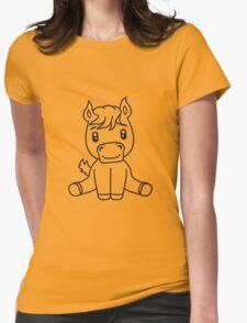 sweet cute sitting comic cartoon pony horse pferdchen kawaii child girl baby foal Womens Fitted T-Shirt