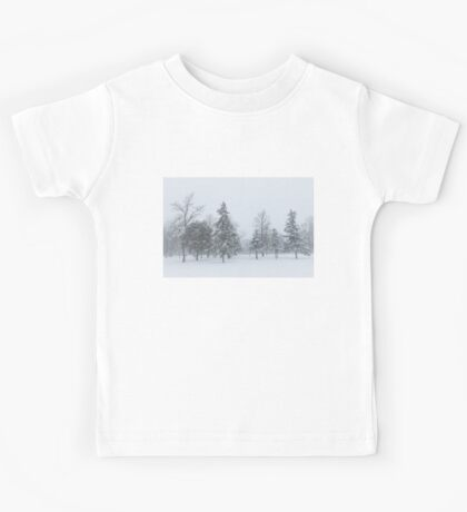 Snowstorm - Tall Trees and Whispering Snowflakes Kids Tee
