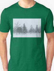 Snowstorm - Tall Trees and Whispering Snowflakes Unisex T-Shirt