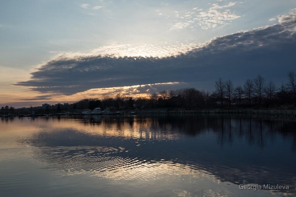 Just Before Sunset - Gray Clouds and Ripples  by Georgia Mizuleva