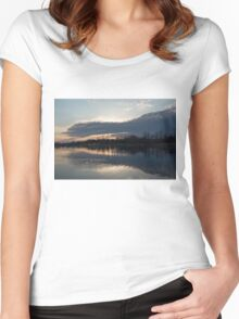 Just Before Sunset - Gray Clouds and Ripples  Women's Fitted Scoop T-Shirt