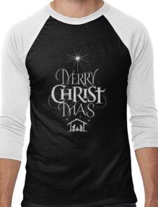 Merry Christmas Religious Christian Calligraphy Christ Mas Chalkboard Jesus Nativity Men's Baseball ¾ T-Shirt