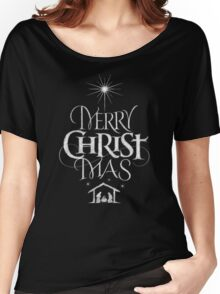 Merry Christmas Religious Christian Calligraphy Christ Mas Chalkboard Jesus Nativity Women's Relaxed Fit T-Shirt
