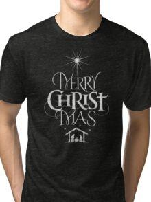 Merry Christmas Religious Christian Calligraphy Christ Mas Chalkboard Jesus Nativity Tri-blend T-Shirt