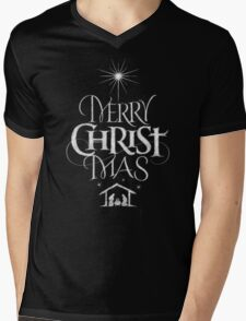 Merry Christmas Religious Christian Calligraphy Christ Mas Chalkboard Jesus Nativity Mens V-Neck T-Shirt