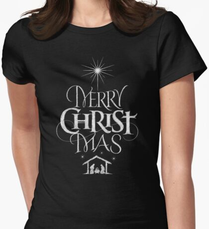 Merry Christmas Religious Christian Calligraphy Christ Mas Chalkboard Jesus Nativity Womens Fitted T-Shirt