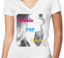 BubblePopElectric Women's Fitted V-Neck T-Shirt