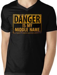 """Funny, """"DANGER, Is My Middle Name"""" Metal with Rust Sign Yellow Black Mens V-Neck T-Shirt"""