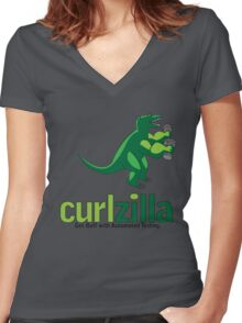 Curlzilla - Automated Testing Women's Fitted V-Neck T-Shirt