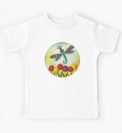Dragonfly & Tulips Kids Tee